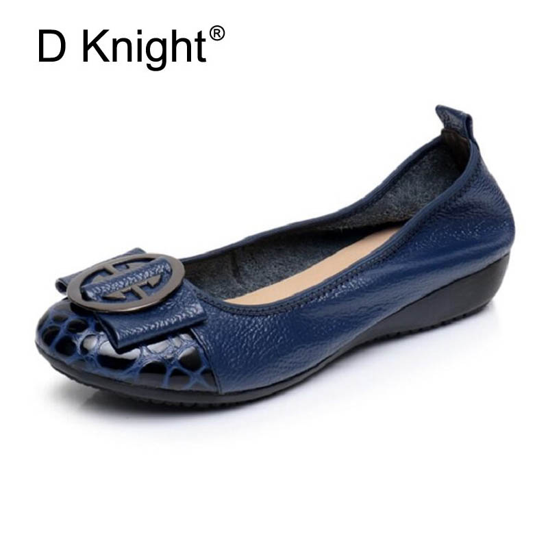 Genuine Leather Loafers 2018 Black Blue Ballet Flats Shoes Woman Slip On Comfortable Casual Women Ballerina Shoes Big Size 34-43 odetina 2017 new women pointed metal toe loafers women ballerina flats black ladies slip on flats plus size spring casual shoes