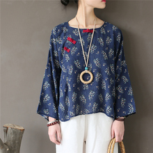 Johnature Women Shirts and Blouses 2018 New Summer Print Floral Vintage Tops Long Sleeve O-Neck Loose Chinese Style Women Shirts
