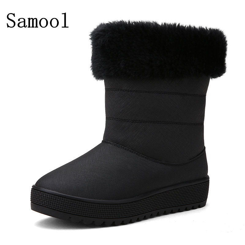2017 Women snow boots winter warm boots thick bottom platform waterproof ankle boots women thick fur cotton shoes big size 34-41