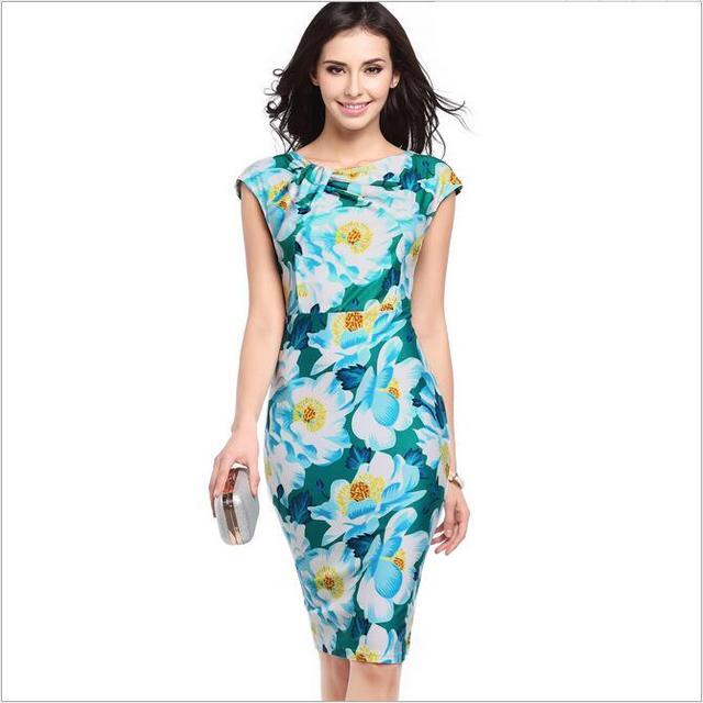 3ccc1853d97 Elegant Women New Summer Fashion Vintage Office Business Sheath Pencil Dress  Knee-Length Print Floral Bodycon Wear to Work Dress