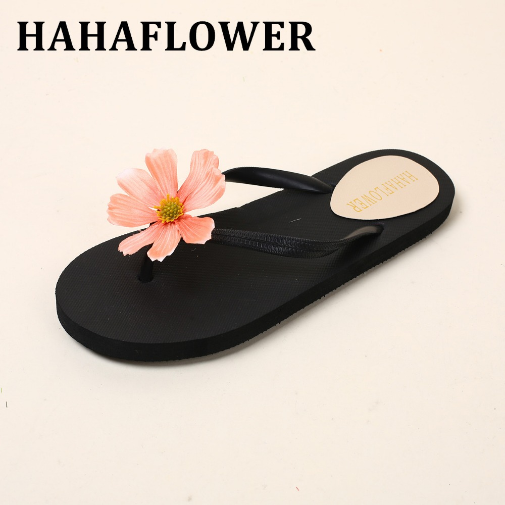 HAHAFLOWER  Summer Beach Slippers Sandals For Women Flowers Slides Female Slippers Bohemia Shoes Rubber Anti-Slip Beach Shoes slippers female summer 2016 new version for casual shoes women flat sandals sweet flowers beach shoes free shipping