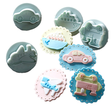 4Pcs/Set Cake Cookie Plunger Cutters Fondant Cake Molds Transport Tool (Car Plane Boat Train) Cake Decorating Tool