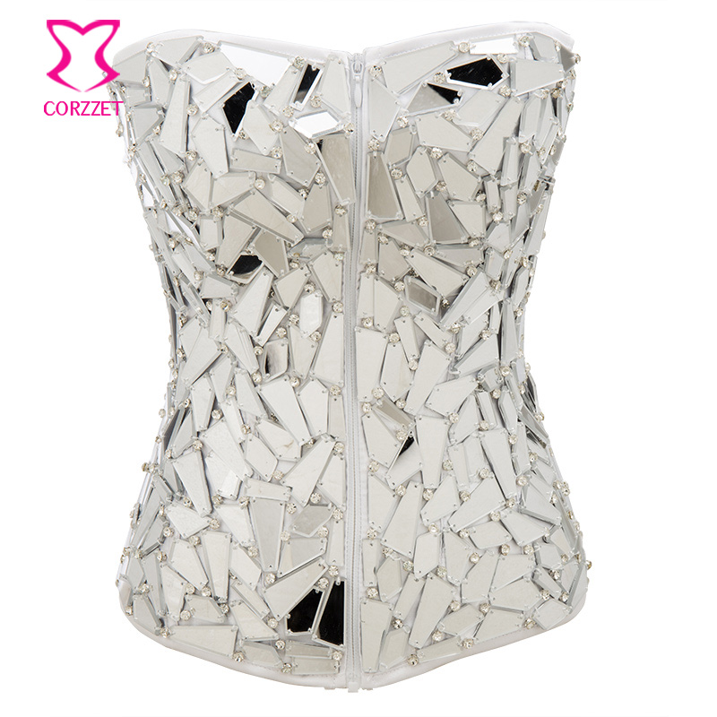 3157a6a56 white zipper Shiny Mirror Beading Rhinestones overbust Corset Steampunk sexy  gothic Slimming Waist Trainer corsets and