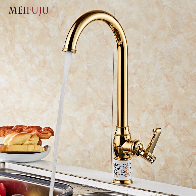 MEIFUJU Gold Kitchen Faucet Mixer Cold and Hot Kitchen Tap Single Hole Handle 360 Rotate Crane Ceramic Swivel Sink Mixer Tap 360 rotate copper chrome swivel kitchen faucet mixer cold and hot silver single hole handle kitchen water tap