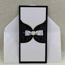 40pcs Lot Muslim Wedding Card Bride And Groom Nice Luxury Unique Black Flocking Invitation