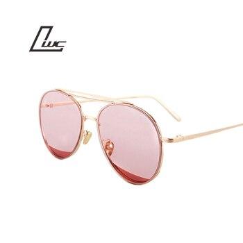 Vintage Round Sunglasses Reflective Coating Glasses Fashion Women Brand Designer Sunglasses Metal Frame Oculos De Sol çerçevesiz güneş gözlük modelleri bayan
