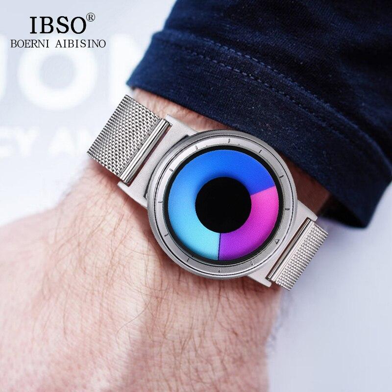 IBSO Mens Watches Top Brand Luxury Steel Mesh Strap 2019 Hide Watch head Fashion Creative Quartz