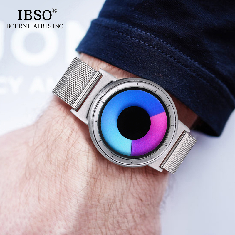 IBSO hombres relojes Top marca de lujo de acero correa de malla 2018 ocultar reloj cabeza creativa cuarzo deporte reloj hombres 3ATM impermeable
