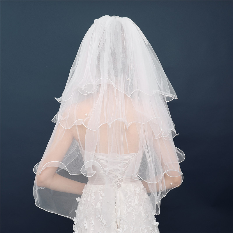 Elbow Length Short Bridal Veils With Comb Multi 4 Four layer Tulle Pearls Wedding Veils White Ivory Elegant Voile Mariage JVA006