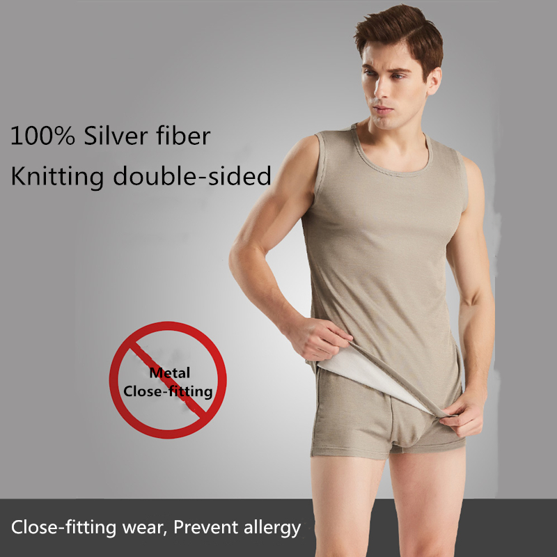 Ajiacn Electromagnetic Radiation Protection Silver Fiber Men's Underwear EMF Shielding Four Seasons Close-fitting Underwear