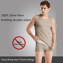 Ajiacn, защита от электромагнитного излучения, Серебряное волокно, мужское нижнее белье, ЭМС, экранирование, четыре сезона, плотно прилегающее нижнее белье
