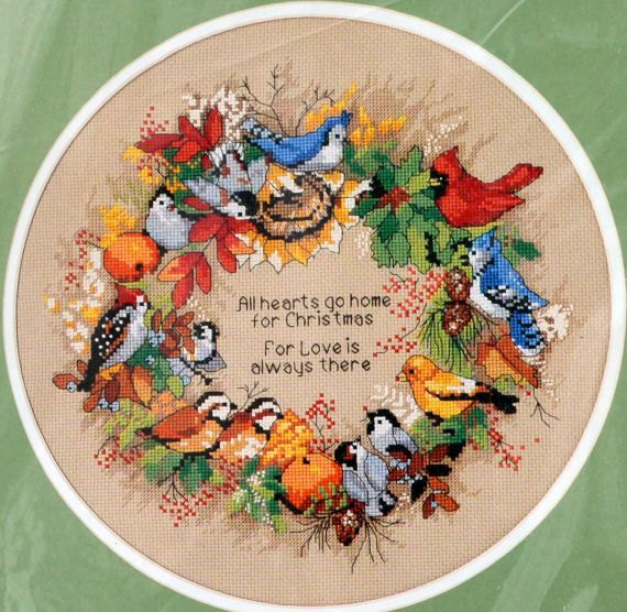 Top Quality Beautiful Lovely Counted Cross Stitch Kit All Hearts Go Home For Christmas Love Flower Bird Wreath Dim 08413