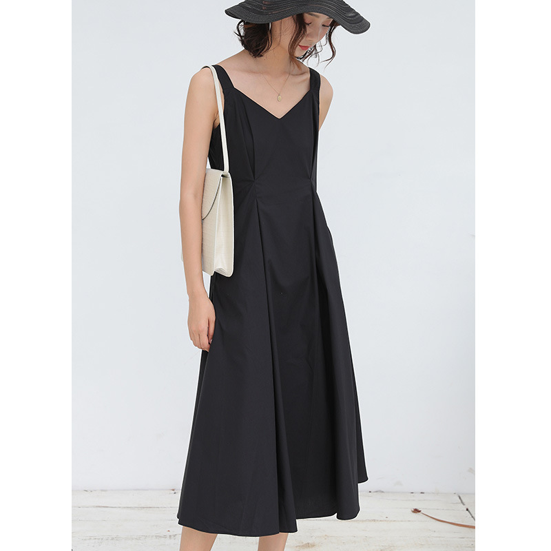 2019 New Solid Color V neck Temperament A Word Dress Strap Midi Dress in Dresses from Women 39 s Clothing