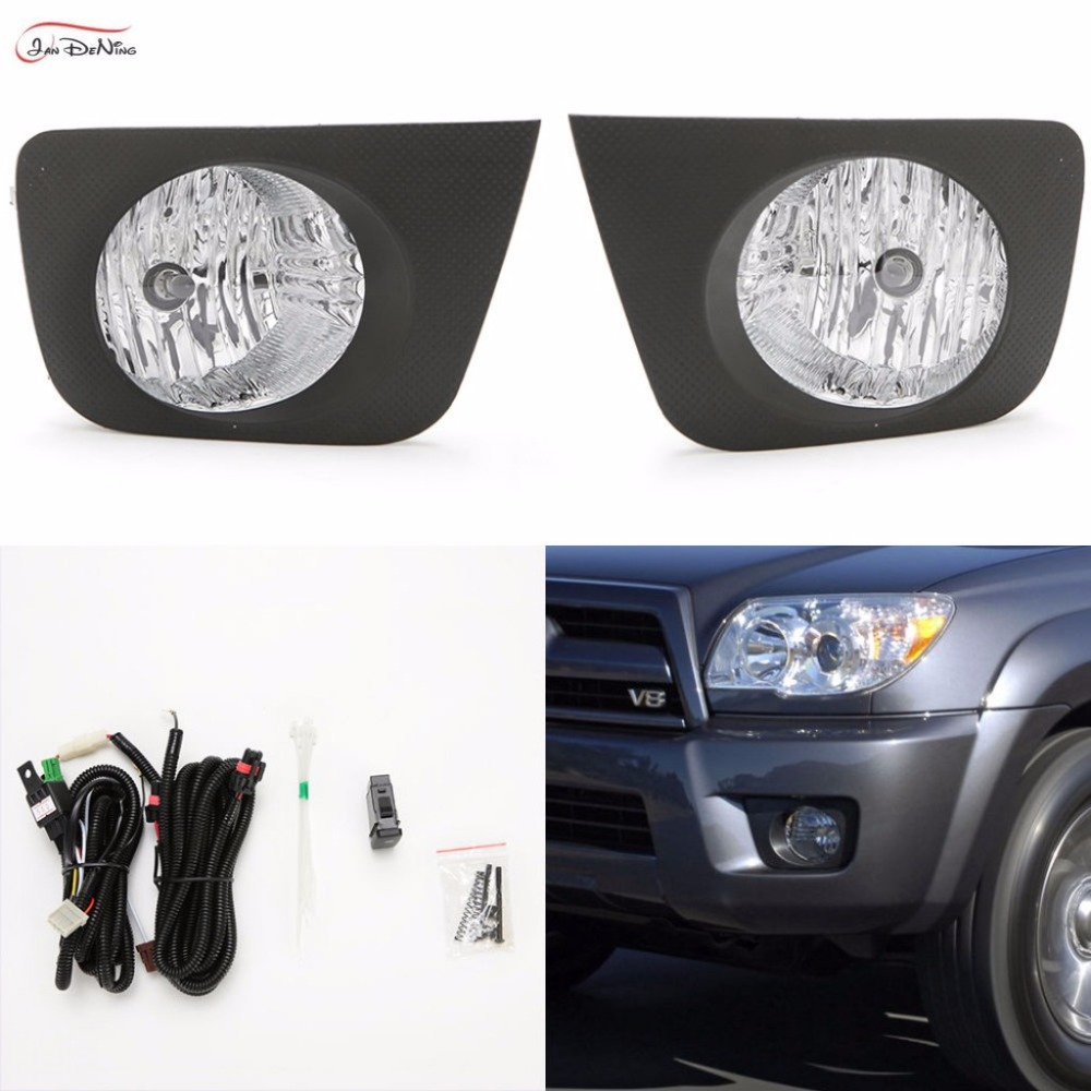 JanDeNing Car Fog Lights For Toyota 4 Runner /Hilux Surf 2005 ~ 2009 Clear Front Fog Lights Bumper Lamps Kit (one Pair) for opel astra h gtc 2005 15 h11 wiring harness sockets wire connector switch 2 fog lights drl front bumper 5d lens led lamp