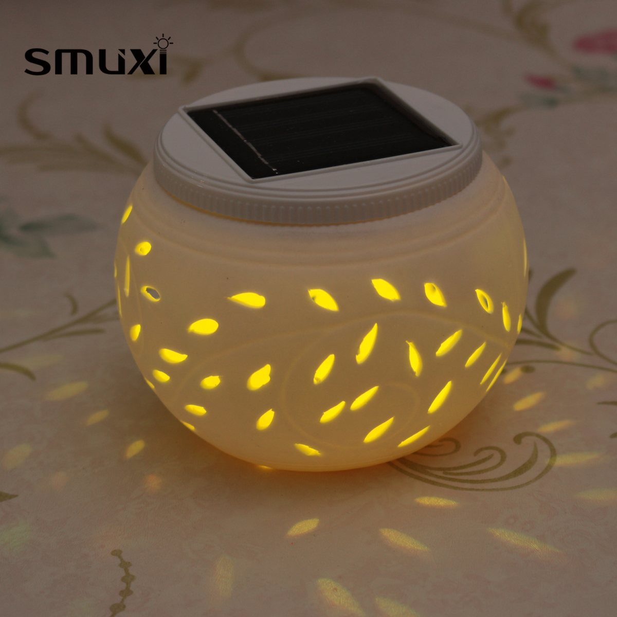 Smuxi Hot Sale Novelty Ceramic Changing Colour LED Solar Lamp Sun Powered Table Garden Round Light Solar Power Lamp