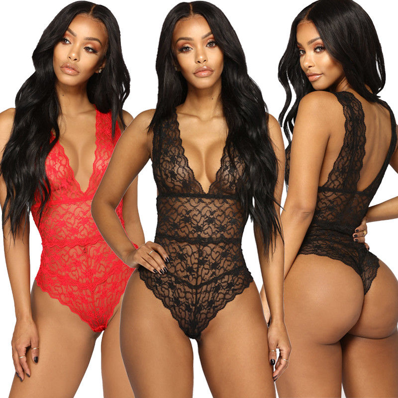 Women's Sexy Lace Floral Lingerie Bodysuits Nightwear Underwear G-string Deep V Neck Babydoll Catsuit Lingerie Sexy Hot Erotic(China)