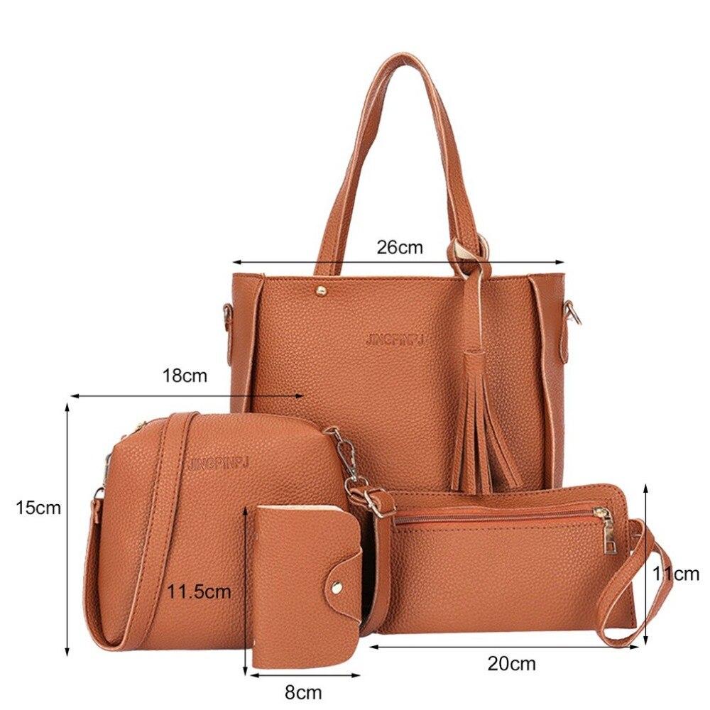 f3a6cb13ffd 4 unids set moda de Mujer de cuero de hombro bolsos bandolera Bolso de  Crossbody embrague bolsa Mujer bolsa de mensajero Bolso Mujer en Bolsas de  hombro de ...
