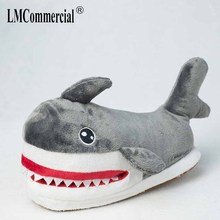 Winter new cute cartoon women slippers thickened warm indoor house adult girl ahoes shark fur timber land shoes