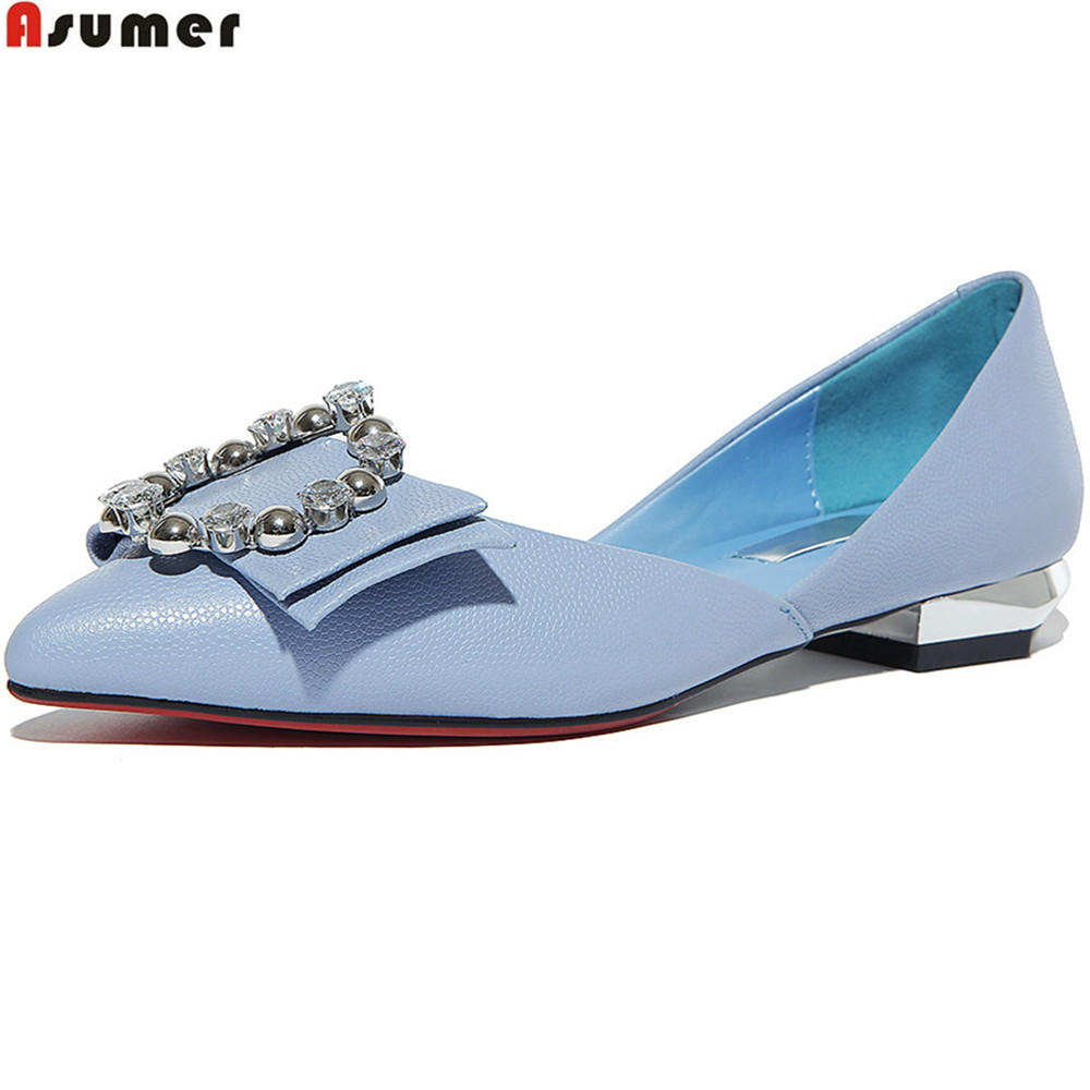 ASUMER pink fashion new arrival women pumps pointed toe genuine leather shoes shallow sweet elegant leisure low heels shoes asumer 2018 summer new arrival women