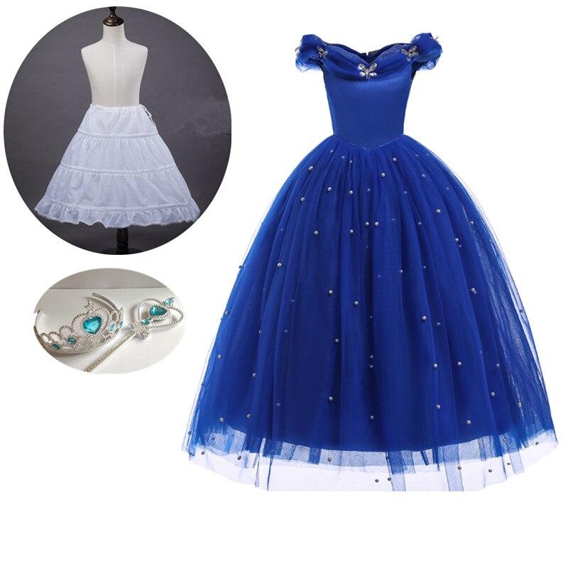 2018 Summer Princess Cinderella dress Girls Ball Long Gown Party dress  children clothes Carnival Blue long Pearls dress 0d37e1f9a1fd