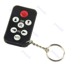 OOTDTY Key Ring 7 Keys Black Mini Universal Infrared IR TV Set Remote Control Keychain