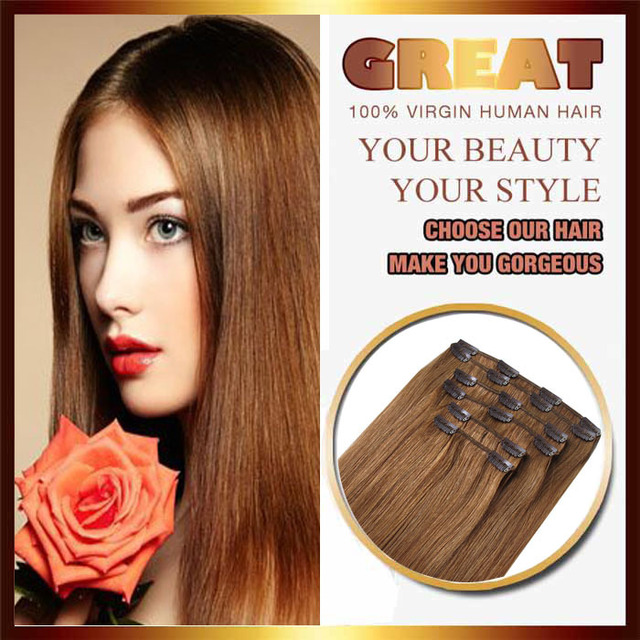 Dark Blonde Color Clip In Hair Extensions Russian Straight Hair Muse