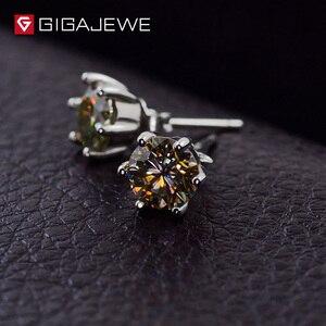 Image 3 - GIGAJEWE Moissanite זהב עגול לחתוך כולל 1.6ct יהלומי מעבדה 6 חודים כסף עגילי תכשיטים חברה מתנה