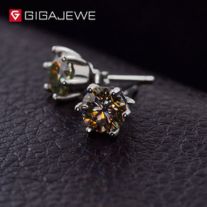 Image 3 - GIGAJEWE Moissanite Altın Yuvarlak Kesim Toplam 1.6ct Lab Grown Diamond 6 Prong Gümüş Küpe moda takı Kız Arkadaşı Hediye