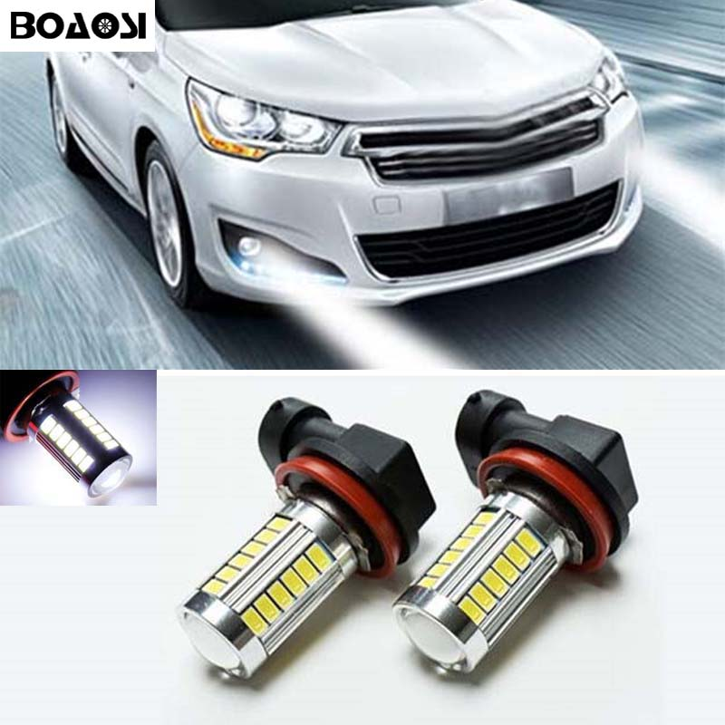 BOAOSI 2x Error free H8 H11 LED projector Fog Light bulb For citroen c2 c4 c4l c5 triumph car accessories boaosi 2x led h8 h11 car fog driving lamp light bulb for bmw e39 325 328 m mini sport