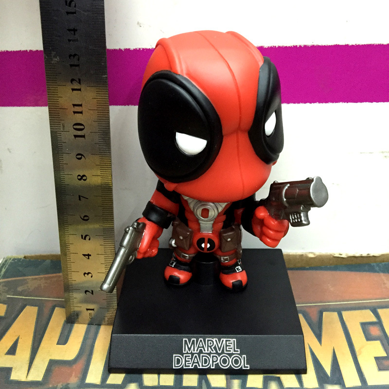 14cm Q Version Deadpool Action Figure Toy MARVEL NOW Car Furnishing Articles Model Holiday Gifts Ornament X-Men Hand Do 14cm pvc movable avengers union captain america thor action figure car furnishing articles model holiday gifts children s toys