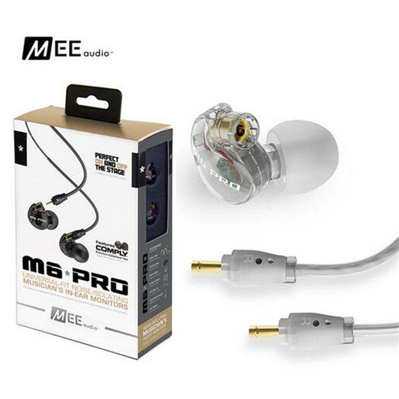 DHL free shipping MEE M6 PRO earphone universal-Fit Noise-Isolating Musician's In-Ear Monitors with Detachable Cable VS SE535 dhl free 2pcs black white m6 pro universal 3 5mm wired in ear earphone noise isolating musician monitors brand new headphones