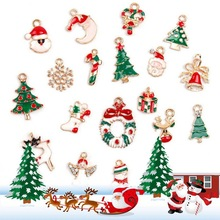Christmas Style Mix 19pcs/bag Enamel Charms DIY Earring Bracelet Hair Necklace Jewelry Making charmstmas Decorations YZ499