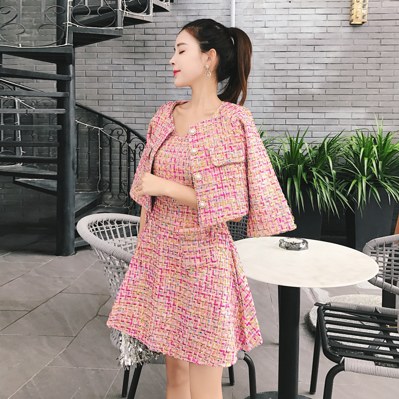 Fashion Small Fragrant Wind Dress Set Women Autumn Nwinter 2018 New Female Tweed Short Jacket Coat +tweed Vest Dresses Two Piece