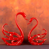 Elegant Resin Swans Figurines Home Office Swans Decor Desk Craft Ornaments Home Decoration Wedding Valentine's Day Gifts