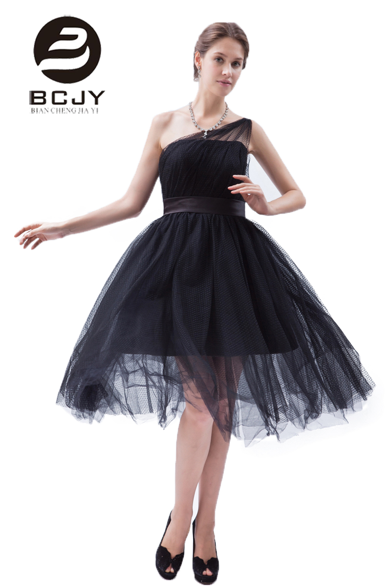 Buy Black Short Prom Dresses 2019 One Shoulder A-Line Tulle Knee Length Prom Dress Party Special Occasion Cocktail Dresses Vestidos for only 129 USD