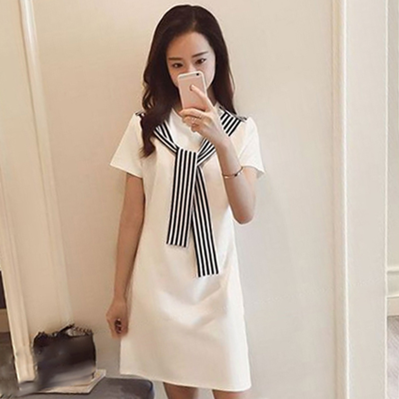 00e0e61927 Detail Feedback Questions about ROPALIA Casual Mini Dresses Autumn Style Black  White Patchwork Crew Neck Short Sleeve Shift Dress White Color Block on ...