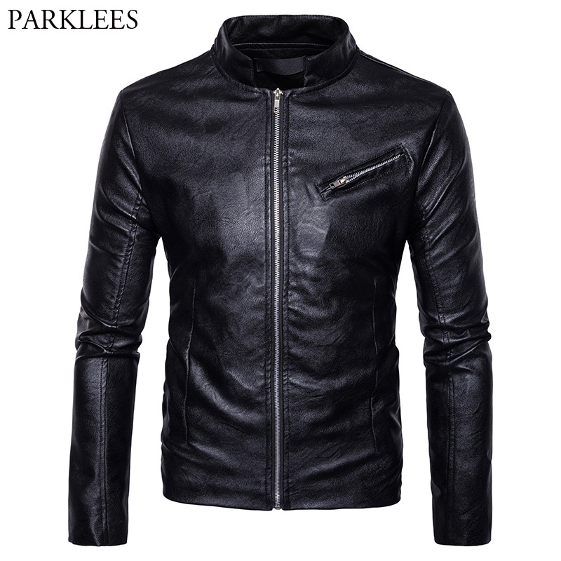Black Men Motorcycle Jacket 2017 High Quality Mens Winter PU Leather Jacket Veste Cuir Homme Casual Zipper Male Leather Jackets