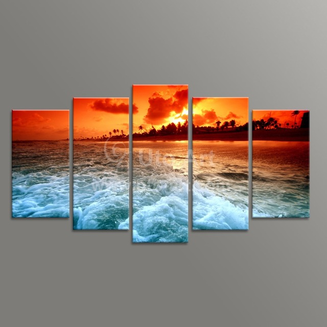 modern unstretched 5 piece canvas art ocean beach decor painting digital picture prints on. Black Bedroom Furniture Sets. Home Design Ideas