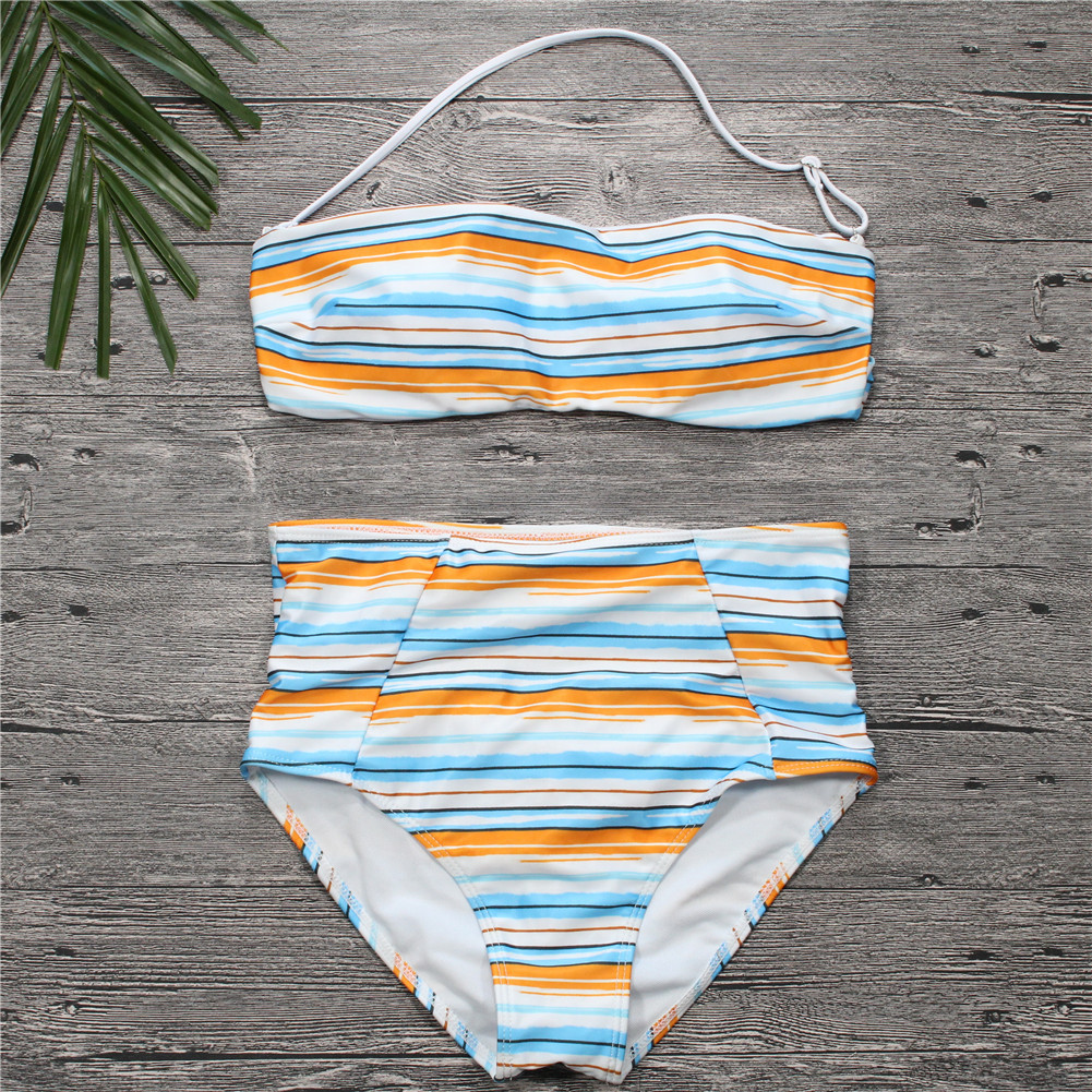 54562eebc6211 2018 New Summer Women s Swimming Multi color High Waist Sexy Bikini Swimsuit  Stripe Strapless Tube Top Bikini Set 7346-in Bikinis Set from Sports ...