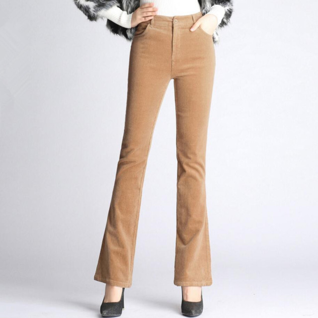 a88915b19b7 Women s Autumn Winter Corduroy Flares Pants Lady s fashion High Waist Slim Bell  Bottom trousers q21