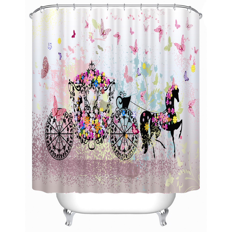 Fabric Polyester Pink Butterfly Princess Rose Eyes Waterproof Shower Curtain Thicken Shower
