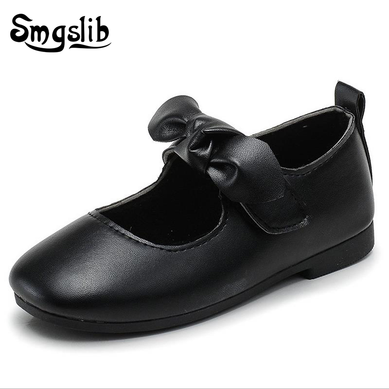 Smgslib Toddler Girls Dress Shoes Bowtie Black Brown Green Leather Children School Single Shoes Wedding Kids Princess Shoes in Leather Shoes from Mother Kids