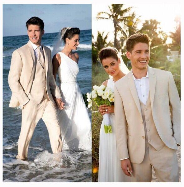 Average Cost Of A Wedding Abroad: 3 Pieces Beige Beach Tuxedo Suits Handsome Mens Wedding