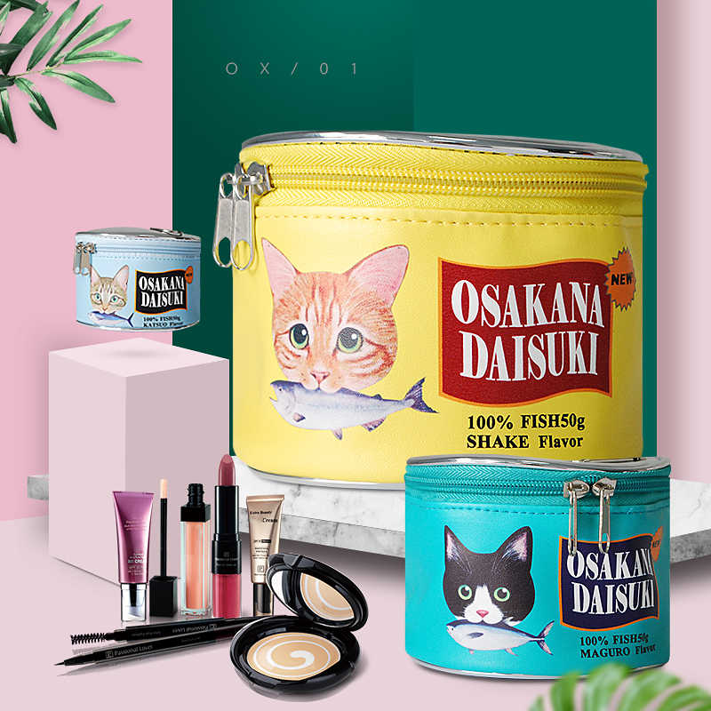 Comida de gato Padrão Pode Saco Cosmético Sacos De Armazenamento Criativo Cilindro Kit Maquiagem Bolsa de Higiene Pessoal do Organizador Pacote de Acessórios