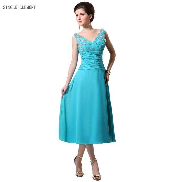 Turquoise Jurk Bruiloft.Enkele Element Turquoise Moeder Van De Bruid Jurken Thee Lengte