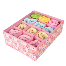 12 Grid Storage Box Bag Non-Woven Fabric Folding Case For Bra Socks Underwear organizer for cloth print storage