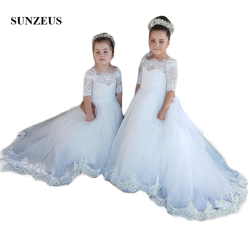 Half Sleeve Lace   Flower     Girls     Dresses   Princess Ball Gown First Communion   Dresses   robe mariage fille SF46