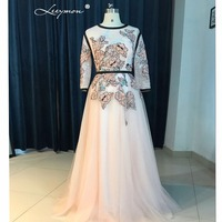 Leeymon Long Sleeves Muslim Prom Dress 2017 Blush Color Prom Gown Sweep Train Party Dress Customize