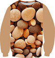 2016 New Fashion Women/Men 3D Fleece Sweatshirt Printed The Pebbles Wall Stone Hoodies Man Harajuku Style Pullover Clothes