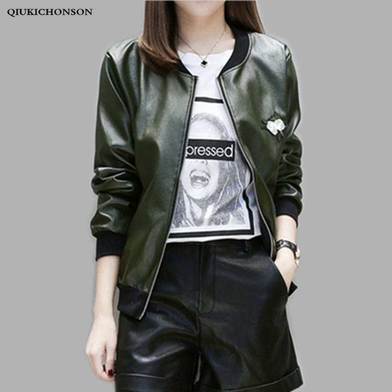 Army Green Faux Leather Jacket Plus Size Round Collar Flower